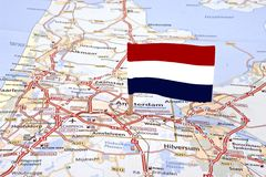 Map from the Netherlands with the dutch flag Royalty Free Stock Photo
