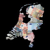 Map of Netherlands with euros Stock Image