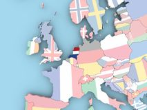 Map of Netherlands with flag on globe Imagen de archivo libre de regalías