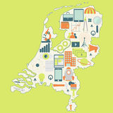 Map of Netherlands with technology icons Stock Photo