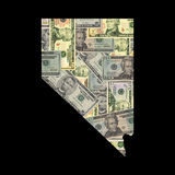 Map of Nevada with dollars Stock Images