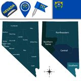 Map of Nevada with Regions. Vector map of Nevada with named regions and travel icons Royalty Free Stock Photography