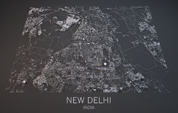 Map of New Delhi, India, satellite view, Stock Photo