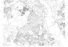 Map of New Delhi, satellite view, streets of the city, India Royalty Free Stock Photography