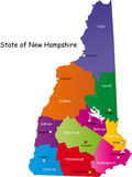 Map of New Hampshire state. Designed in illustration with the counties and the county seats. (Map is hight resolution Stock Photo