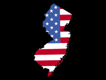 Map of New Jersey with flag Stock Photography