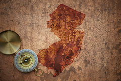 Map of new jersey state on a old vintage crack paper Stock Photography