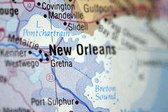Map of New Orleans. Close up of a map of New Orleans royalty free stock image