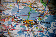 Map of New Orleans. Macro picture of a map of New Orleans with slight vignette royalty free stock image