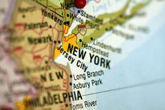Map of New York City. And surrounding area stock photos