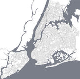 Map of the New York City, NY, USA. Vector map of the New York City NY, USA Stock Photography