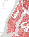 Map of the New York City, NY, USA. Vector map of the New York City NY Manhattan, USA Stock Photos