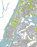 Map of the New York City, NY, USA. Vector map of the New York City NY Manhattan, USA Royalty Free Stock Photos