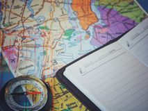 Map of new york. Compass and notepad for notes. Concept idea - travel to New York, a big city.  Stock Images