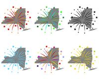 Map of New York with fireworks stock illustration
