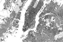 Map of New York, satellite view, United States, neighborhoods with streets and building. Black and white Stock Illustration