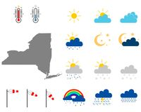 Map of New York with weather symbols stock photography