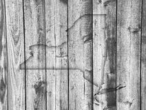 Map of New York on weathered wood Stock Images