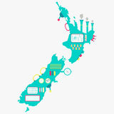 Map of New zealand machine Royalty Free Stock Photos