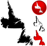 Map of Newfoundland, Canada. Detailed Map of Newfoundland, Canada with several variations Royalty Free Stock Images
