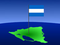Map of Nicaragua with flag Stock Photography