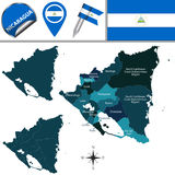Map of Nicaragua with Named Departments Stock Photos