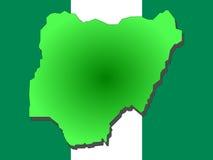 Map of Nigeria. And Nigerian flag illustration Stock Photo