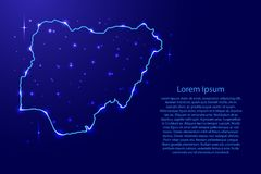 Map Nigeria from the contours network blue, luminous space stars Stock Photos