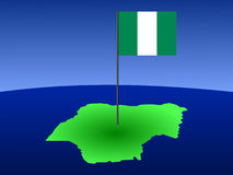 Map of Nigeria with flag Stock Images