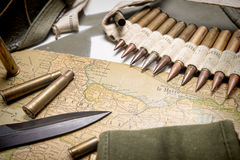 Map of Normandy placed on the hood of military vehicle Stock Image