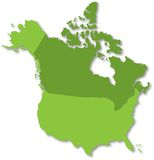Map of North America. North America map drawn on Adobe Illustrator Royalty Free Stock Images