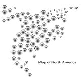 Map of North America Canada Costa Rica Cuba Mexico USA Royalty Free Stock Photo