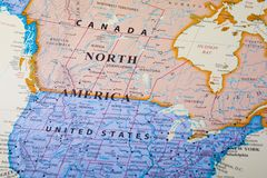Map of North America. Consisting some parts of Canada and United States of America royalty free stock images