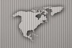 Map of North America on corrugated iron vector illustration