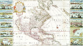 Map of North America including West Indies Royalty Free Stock Photography