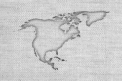 Map of North America on old linen royalty free stock image
