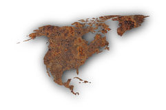 Map of North America on rusty metal Royalty Free Stock Photography