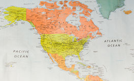 Map with North America and two oceans. Map with North America, Pacific Ocean, and Atlantic Ocean Stock Image