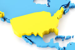 Map of North America with USA highlighted Royalty Free Stock Image