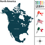 Map of North America. Vector map of North America with flags and location on world map Royalty Free Stock Images
