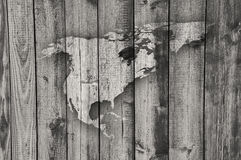 Map of North America on weathered wood stock photo