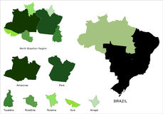 Map of North Brazilian Region Royalty Free Stock Photography