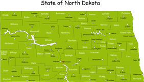 Map of North Dakota Royalty Free Stock Photos