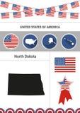 Map of North Dakota. Set of flat design icons nfographics elemen vector illustration