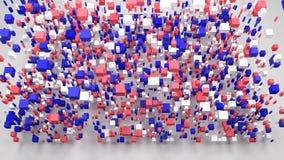 Map of North Dakota - USA -. Decorative map of North Dakota - USA | 3D Rain of little bricks - Flag colours stock video