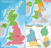 Map of North East and West England Royalty Free Stock Photos