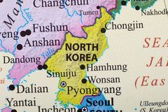 Map of North Korea. Close up map of North Korea in East Asia. Pyongyang is the capital city of North Korea royalty free stock photo