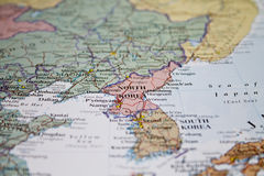 Map of North Korea in focus. A closeup photo of the map of North Korea royalty free stock photos