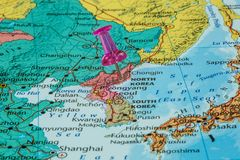 Map of North Korea. With a pink pushpin stuck royalty free stock images