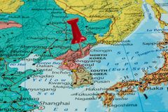 Map of North Korea. With a red pushpin stuck royalty free stock photos